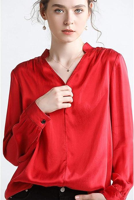 XCXDX Camisa De Seda De Color Sólido Simple, Top De Manga Larga con Cuello De Pico para Mujer, Monos Elegantes: Amazon.es: Deportes y aire libre