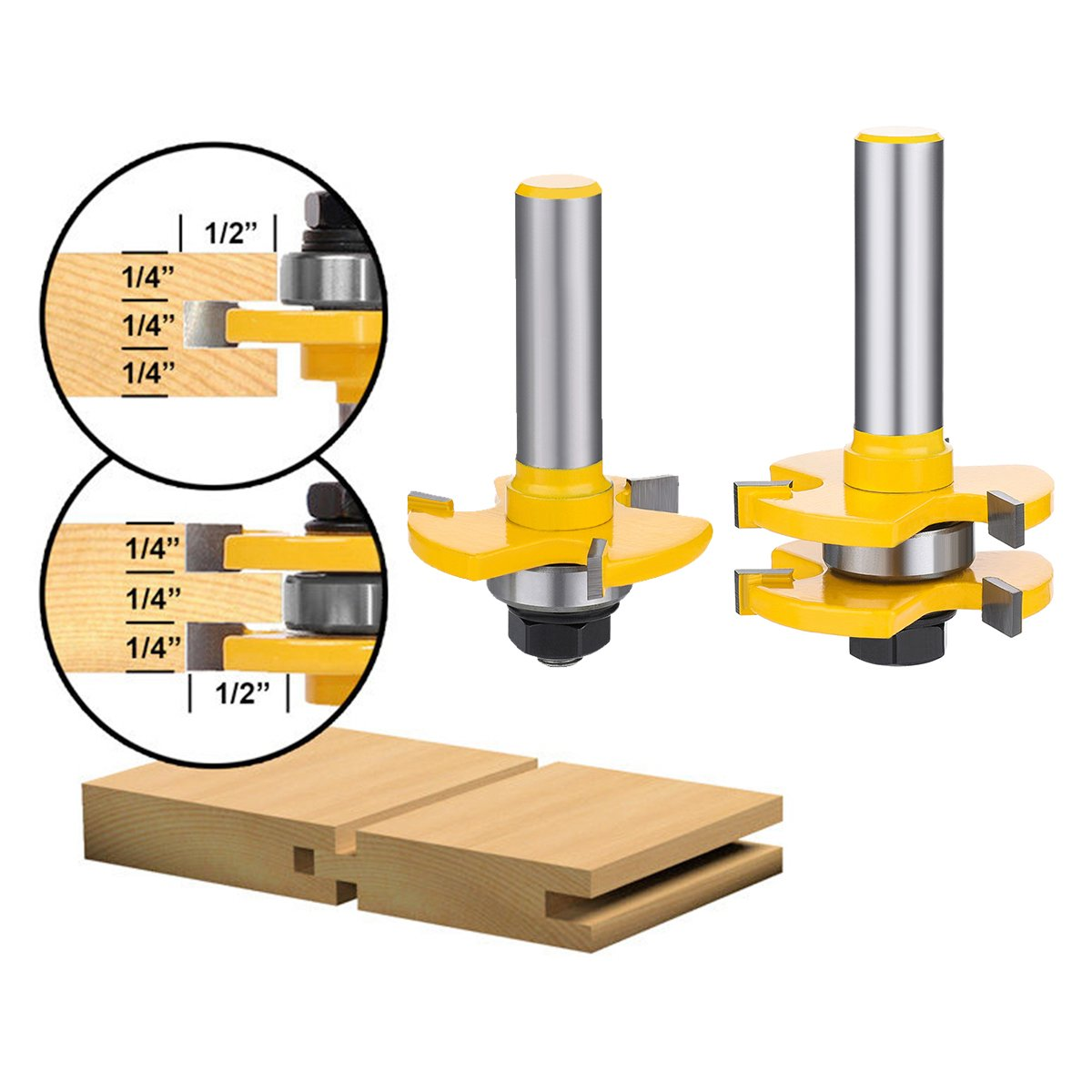 Tongue and Groove Set,DRILLPRO 2PCS Router Bit Set 1/2-Inch Shank T Shape Wood Milling Cutter Woodworking Tool For Doors, Tables, Shelves, Walls, DIY Woodwork by DRILLPRO (Image #2)