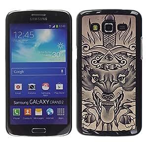 iKiki Tech / Estuche rígido - Freemasons Eye Pyramid Sword - Samsung Galaxy Grand 2 SM-G7102 SM-G7105
