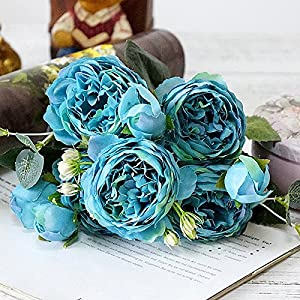 FYYDNZA Beautiful Rose Peony Artificial Flowers Small Bouquet Home Spring Party Fake Flower Wedding Decoration,6 117