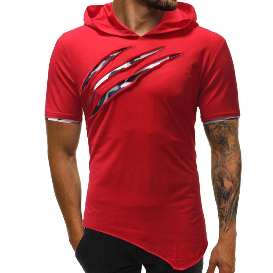 72e78f811ea Amazon.com  vermers Men s Hoodie T Shirts Fashion Personality Pure Color  Sport Short Sleeve Tee Tops  Clothing