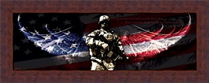 Marvelous No Greater Love Patriotic Soldier 20x8 Framed Art Print Picture By Jason  Bullard