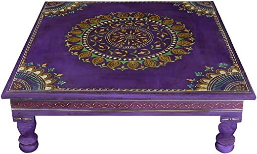 Lalhaveli Vintage Handpainted Work Design Wooden Puja Bajot Table 18 X 18 x 6 Inches