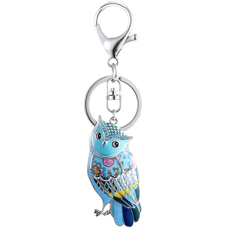 Luckeyui Unique Owl Gift Keychains for Women Blue Enamel Cute Animal Keyring