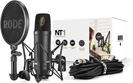RODE NT-1 KIT Composed of Condenser Microphone, SM6 Support and Integrated Antipop, Black: Amazon.co.uk: Musical Instruments
