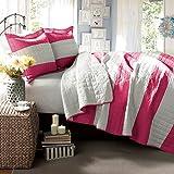 Lush Decor Berlin Stripe 3-Piece Quilt Set, Twin, Hot Pink