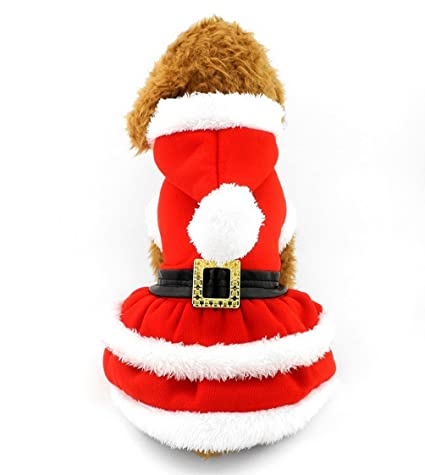 selmai dog christmas dress costume pleated skirt red dog coat pet hoodies puppy clothes for girls