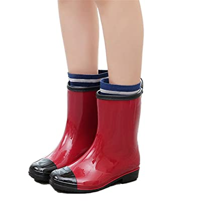 Luise Hoger 2017 New Spring And Autumn Woman Fashion Rain Boot Waterproof Non-Slip Plus Cotton Warm Rubber Boots And Ankle Rain Shoes Red 9