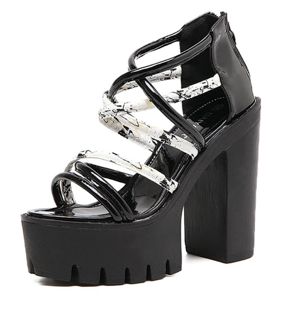 MNIILas Nuevas Correas Para Mujer De Roma Abren Los Zapatos Gruesos De Las Sandalias De La Plataforma De La Correa Del Tobillo De Las SeñOras Del Alto TalóN- Ropa de deporte! 35 EU|Black