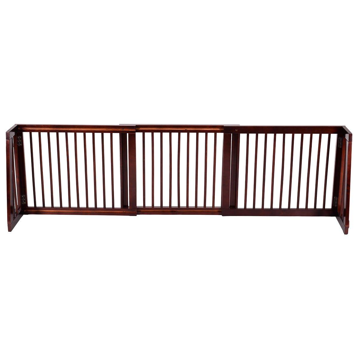 New MTN-G Folding Adjustable Free Standing 3 Panel Wood Pet Dog Slide Gate Safety Fence