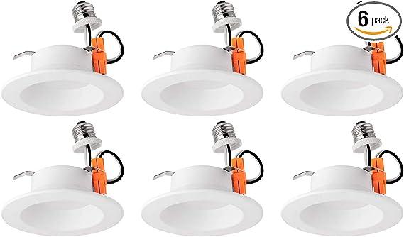 Energy Star Warm White Sunlite 41102-SU LED Retrofit 4-Inch Round Recessed Downlight 10 Watts 6 Pack 30K E26 Medium Base Dimmable