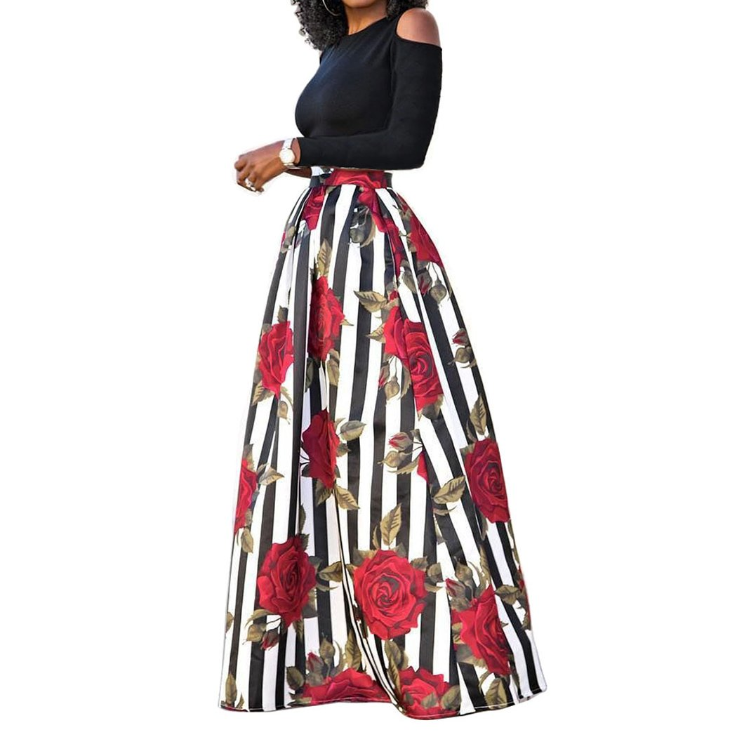 Raylans Women's African Floral Print Two Pieces A Line Long Skirt Maxi Dress Redstripe# M