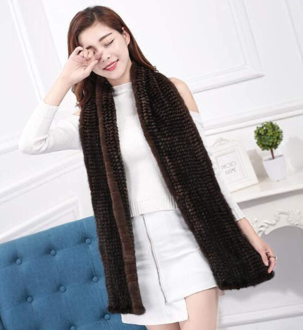 Men Real Mink Fur Tightly Knitted Fishtail Scarf Neckerchief Long 180/×20cm