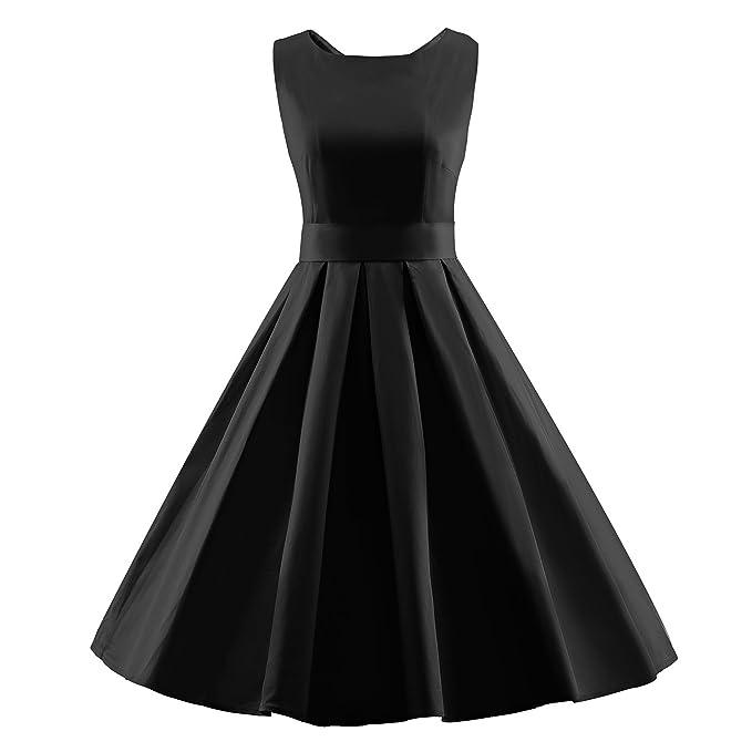 LUOUSE Vestidos Mujer Vintage Retro Rockabilly Fiesta,negro,m