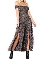 Yidarton Women's Off Shoulder Summer Long Dresses Floral Print Split Maxi Dress