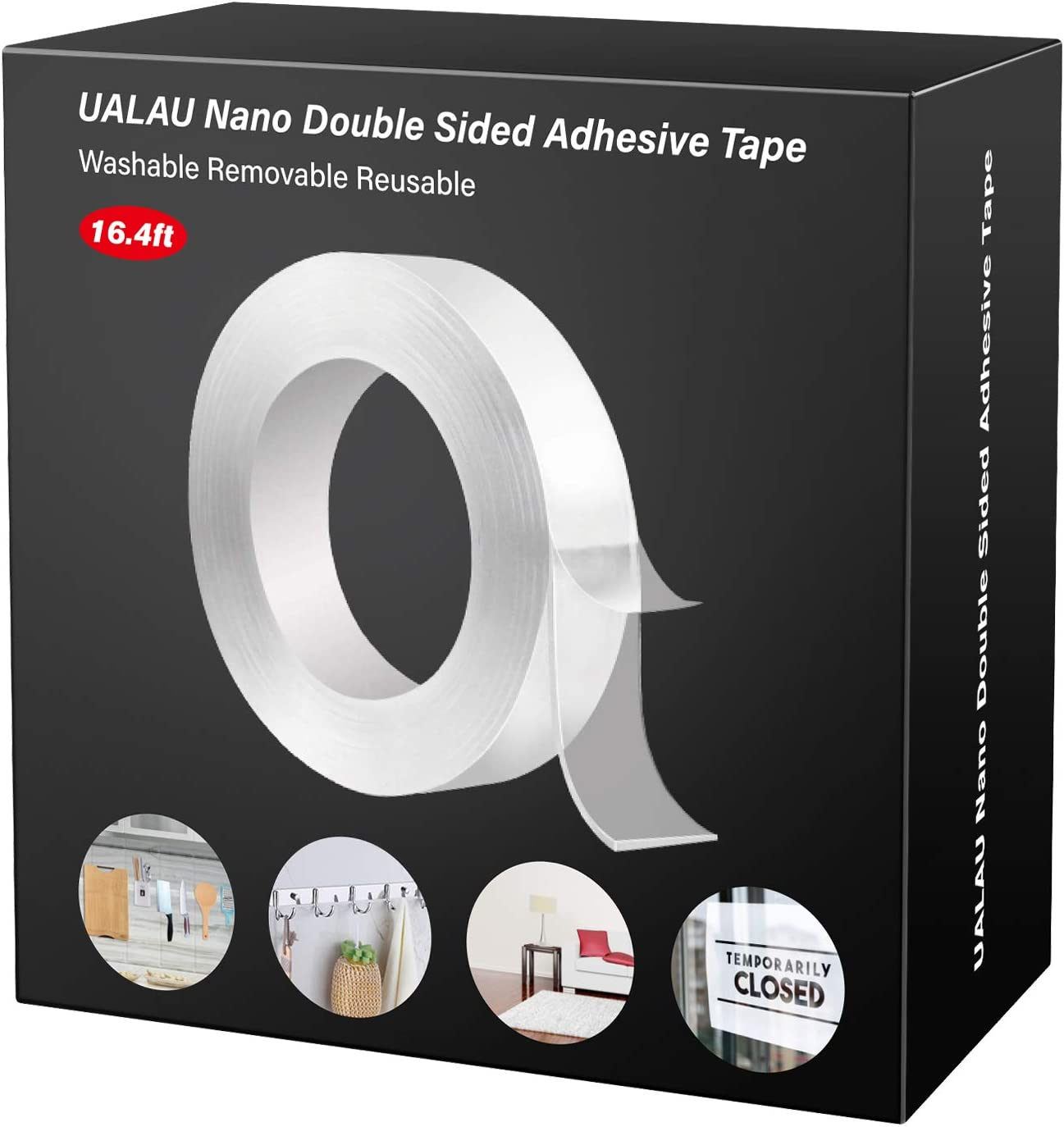 UALAU Double Sided Heavy Duty Clear Sticky Adhesive Mounting Tape