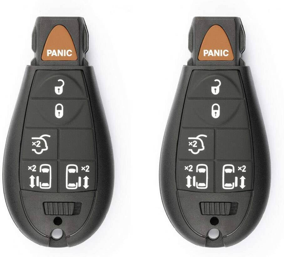 2 Pack FikeyPro Keyless Entry Remote Control Car Key Fob fits Dodge Grand Caravan Town/&Country 6-Button IYZ-C01C