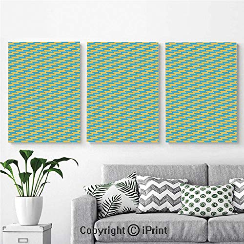 Wall Art Decor 3 Pcs High Definition Printing Diagonal Geometrical Retro Pattern Skewed Squares Tile Design in Shabby Colors Painting Home Decoration Living Room Bedroom Background,16