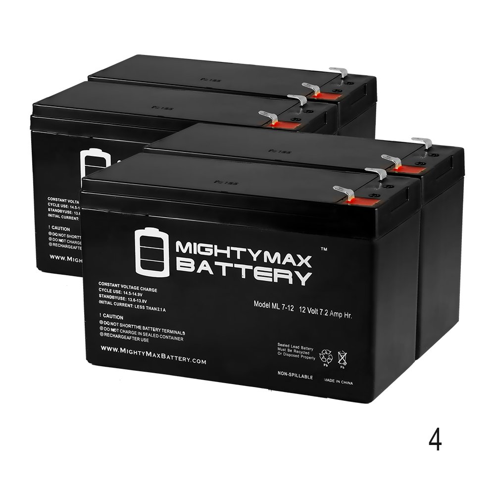 12V 7Ah Battery Replacement for Opti-UPS Durable DS3000B-RM - 4 Pack - Mighty Max Battery brand product