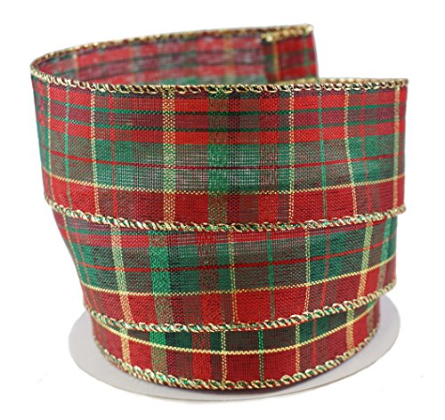 Holiday Metallic Gold, Red & Green Plaid Linen Wired Ribbon - 1.5