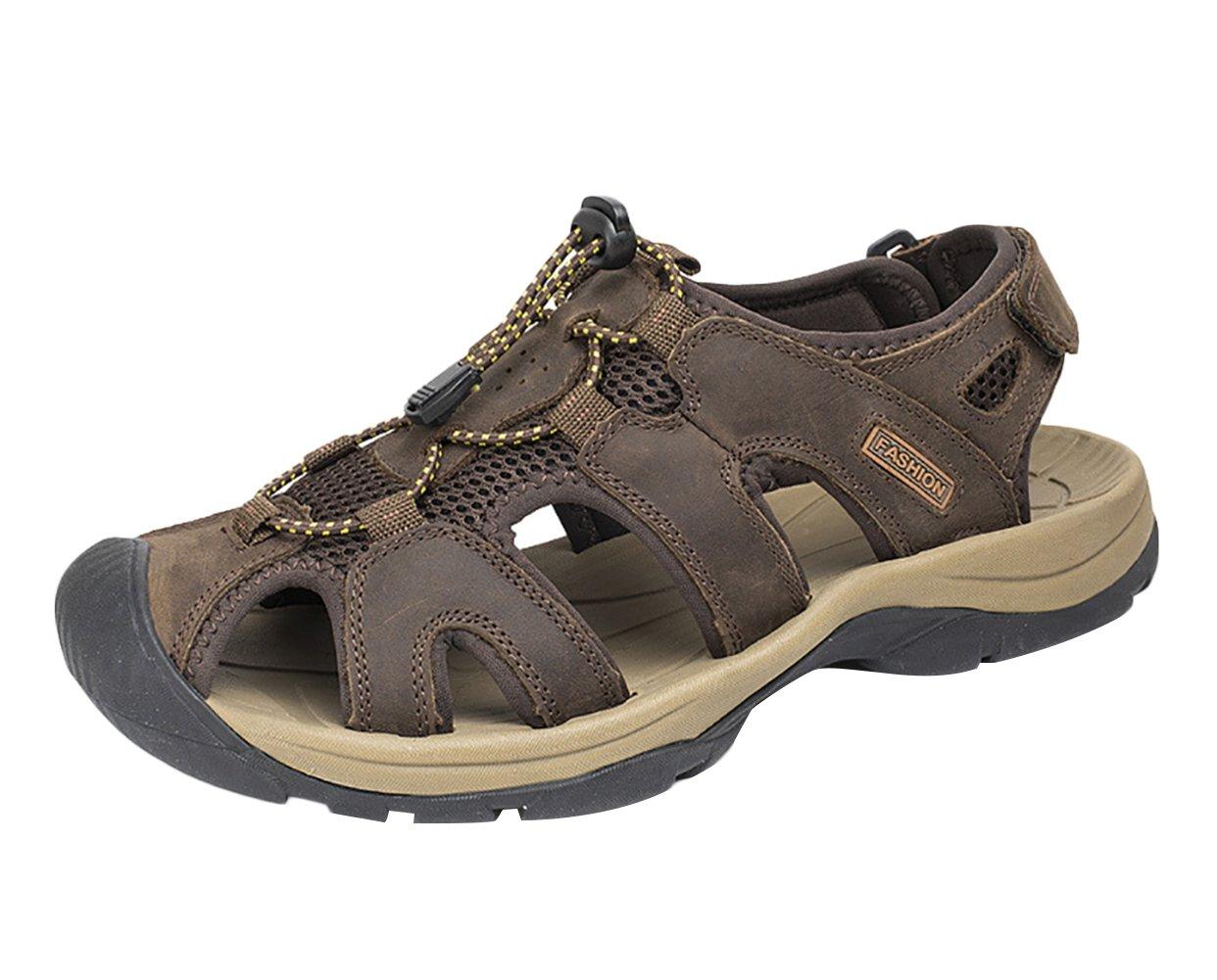 SK Studio Hombre Montaña Sandalias de Cuero Outdoor Punta Cerrada Zapatos Con Velcro 45 EU|Marron Oscuro