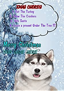 Husky Christmas Cards.Siberian Husky Christmas Cards 10 Cards Amazon Co Uk