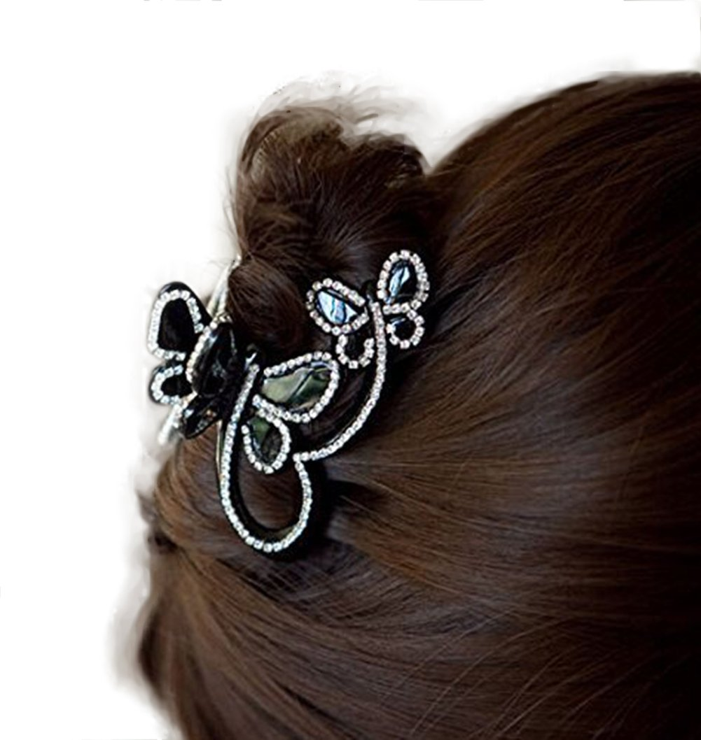 Skyvan Women Elegant Butterfly Flying Rhinestone Crystal Hair Claws Rhinestone Hair Accessories Side-knotted Clip by Skyvan S0156