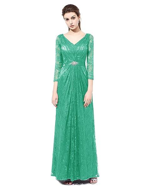 Dresstells reg;Vestido Largo Escote En Pico De Encaje Fiesta Noche Boda Partido Verde 38