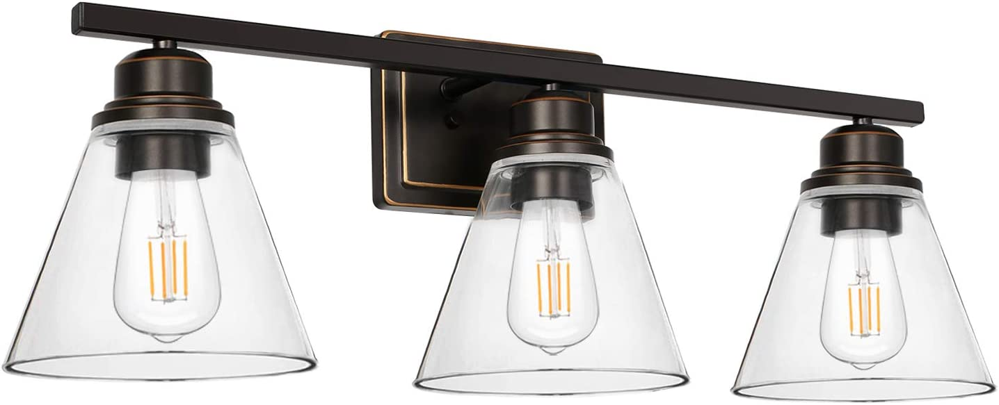 Amazon Com 3 Light Bathroom Light Oil Rubbed Bronze Vanity Light Fixtures Bathroom Wall Sconce Lighting With Clear Glass Shades Etl Listed Bulb Not Included Home Improvement