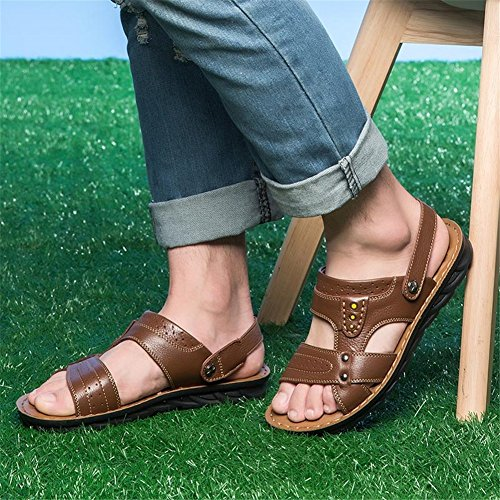 Brown Outdoor for Shoes Brown HUAN Buckle Career Shoes Casual Walking Black Summer Rivet Comfort amp; Soles Leather Light Men's Office Sandals Spring 1SSn4g