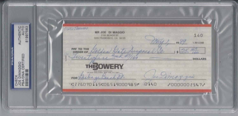 Joe Dimaggio PSA/DNA Certified Autographed Signed Personal Check Autograph Rare #81997583