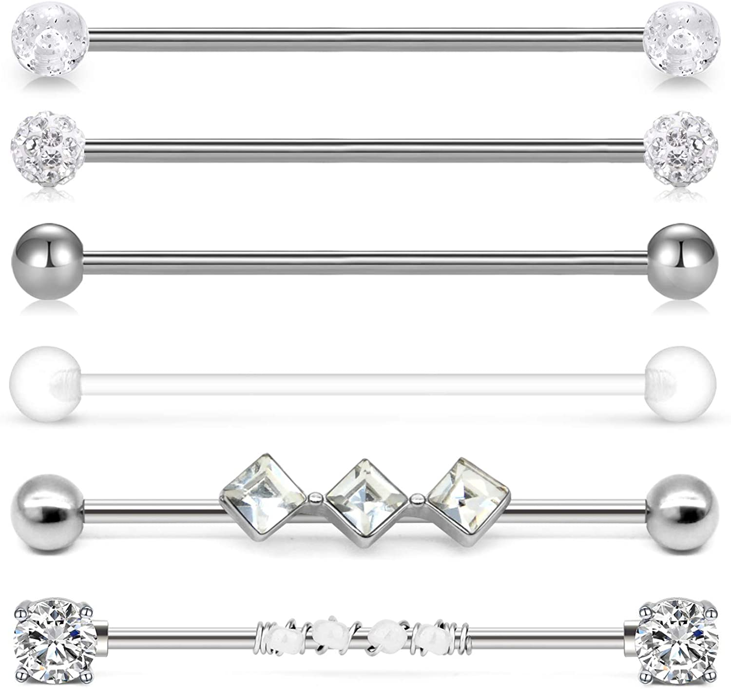 Crystal Balls Surgical Steel Choose Length Industrial Scaffolding Barbell 14g