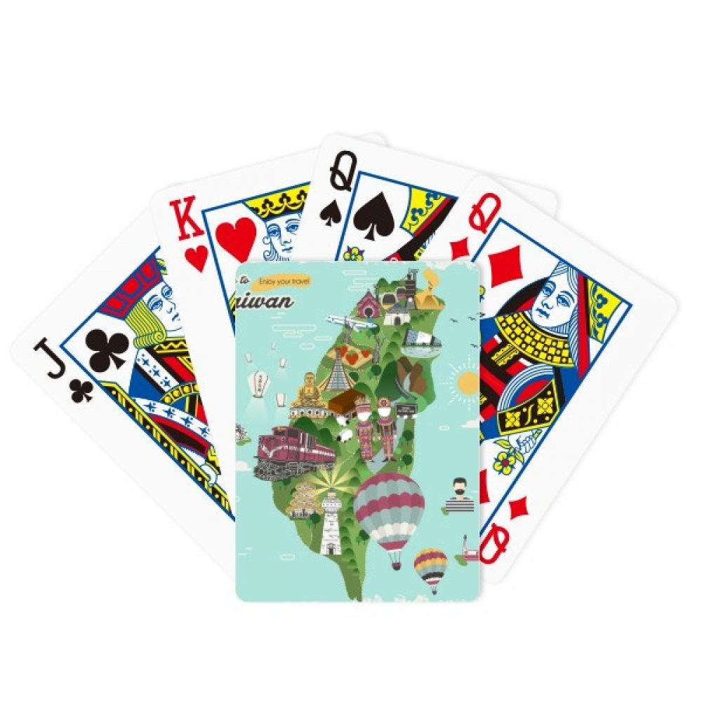 beatChong Taiwan Map Landscape China Travel Poker Playing Card Tabletop Board Game Gift by beatChong
