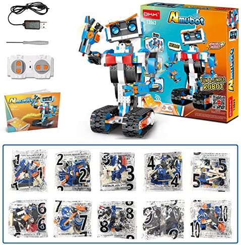 615IIZOORRL. AC  - okk STEM Robot Building Block Toy for Kids, Remote and APP Controlled Engineering Science Educational Assembling Learning Kits Intelligent Rechargeable Creative Set for Boys Girls Gift (635 Pieces)