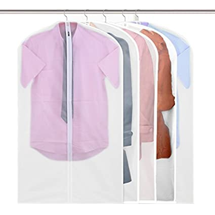 Bon VesipaFly Garment Bags, Pack Of 5 PEVA Suit Covers Storage Bag With Full  Zipper,