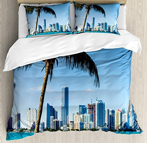 Coastal Decor Duvet Cover Set by Ambesonne, Miami Downtown with Biscayne Bay Buildings and Palm Tree Panoramic, 3 Piece Bedding Set with Pillow Shams, Queen / Full, Sky Blue Aqua Green