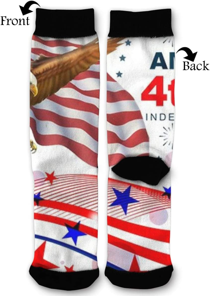 BLongTai Knee High Compression Socks American Flag Bald Eagle July 4 for Women and Men Sport Crew Tube Socks