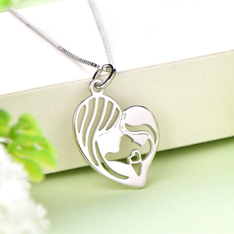 YL Maman Fille Collier 925 Argent Maman Tenir Enfant Coeur Pendentif Collier Cadeaux pour M/ère Femmes 45-48 cm