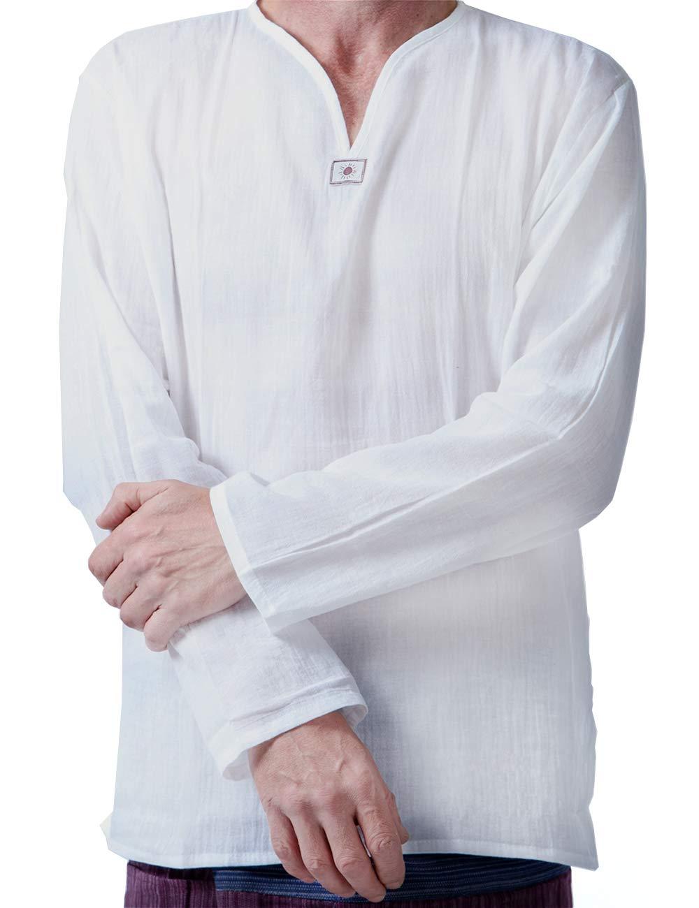 Men Renaissance Medieval White Cotton T Shirt V Neck Hippie Pirate Beach Kurta Yoga