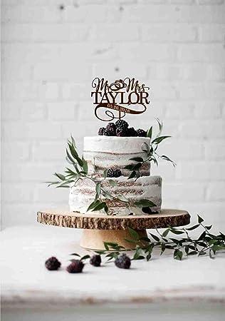 Elegant Rustic Cake Topper Mr and Mrs  Wedding cake topper  personalized surname cake topper Cake Toppers for Wedding Custom Cake Topper