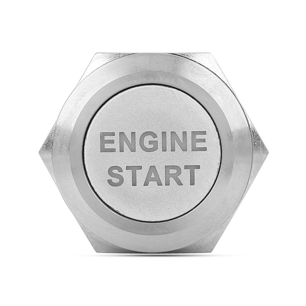 Qiilu 12V White LED Car Engine Start Stop Push Button Switch Silver