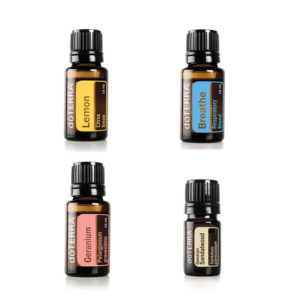 doTERRA Essential Oil Value Set [4 in 1 Started Kit] - Hawaiian Sandalwood 5ml + Breathe 15ml + Geranium 15ml + Lemon Essential Oil 15ml