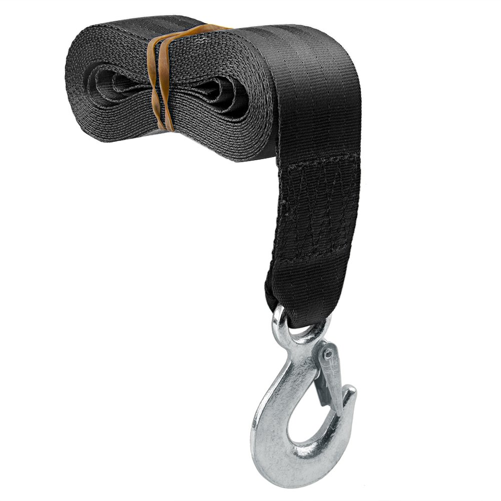 CarBole Black Trailer Winch Replacement Strap 2'' x 20' Safety Snap Hook ATV Trailer Boat 10000 lbs