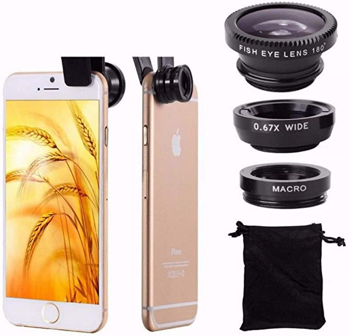 Lentes para Movil, Kit Ojo de pez Fish Eye 180º + Gran Angular ...