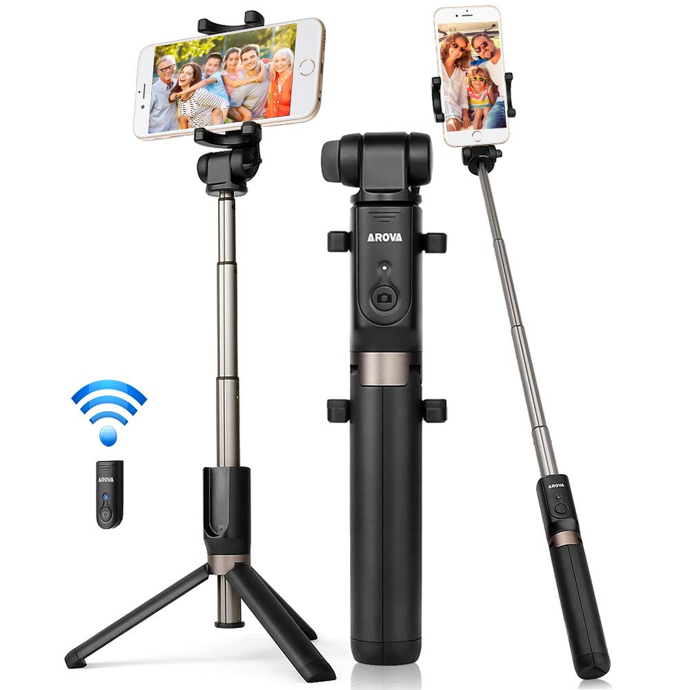 AROVA Selfie Stick Tripod Bluetooth, Extendable Selfie Stick with Wireless Remote & Tripod Stand Compatible with iPhone X/8/8P/7/7P & Galaxy S9/S9 Plus/Note 8/S8/S8 Plus/More, Gift Pouch Included by AROVA