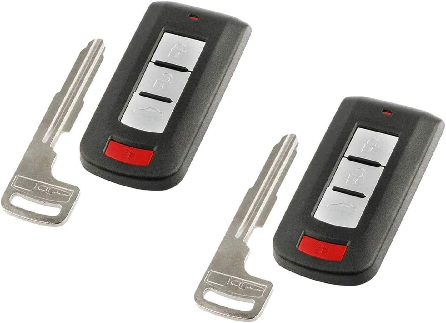 2 Pack New fits 2008-2017 Mitsubishi Outlander Lancer Smart Key Fob Keyless Entry Remote OUC644M-KEY-N