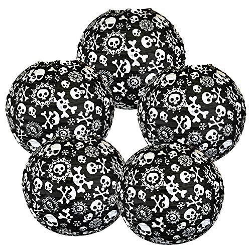 Just Artifacts 12-Inch Halloween Pattern Paper Lanterns (5pcs, Skulls)