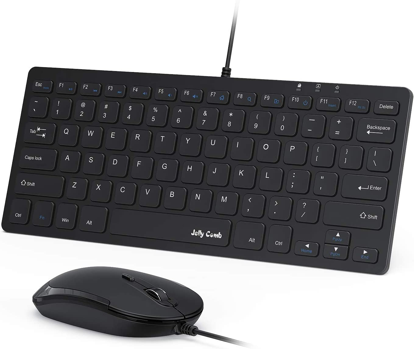 USB Keyboard and Mouse,Jelly Comb Ultra Thin Small Compact Wired Keyboard and Mouse High Definition Optical for Computers, Laptop, PC, Desktop, Laptop,Windows(Black)