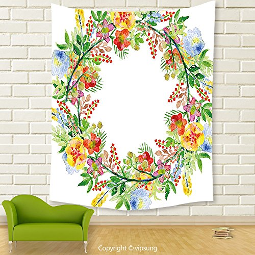Vipsung House Decor Tapestry_Flowers Decor Wreath With Branches Flowers And Leaves Save The Date Card Invitation Print Multicolored_Wall Hanging For Bedroom Living Room (Print Off Halloween Invitations)