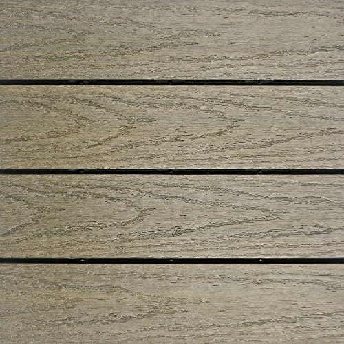 NewTechWood US-QD-ZX-AT Ultrashield Naturale Outdoor Composite Quick Deck Tile (10 Case), 1' x 1', Roman Antique